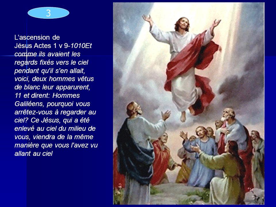 Lascension de Jésus Actes 1 v 9-1010Et comme ils avaient les regards fixés vers le ciel pendant qu'il s'en allait, voici, deux hommes vêtus de blanc l