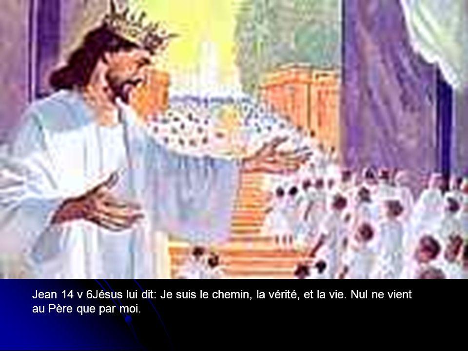 Jean 14 v 6Jésus lui dit: Je suis le chemin, la vérité, et la vie. Nul ne vient au Père que par moi.