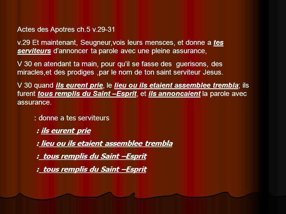 Actes des Apotres ch.5 v.29-31 v.29 Et maintenant, Seugneur,vois leurs mensces, et donne a tes serviteurs dannoncer ta parole avec une pleine assuranc