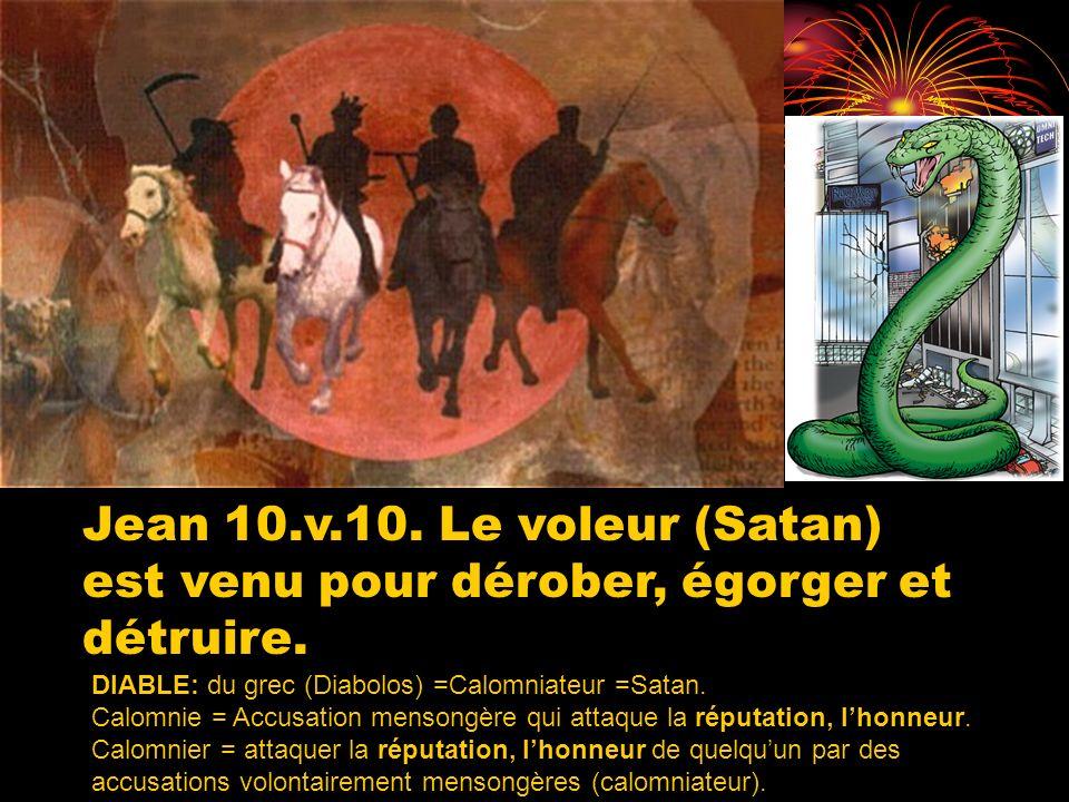 DIABLE: du grec (Diabolos) =Calomniateur =Satan. Calomnie = Accusation mensongère qui attaque la réputation, lhonneur. Calomnier = attaquer la réputat