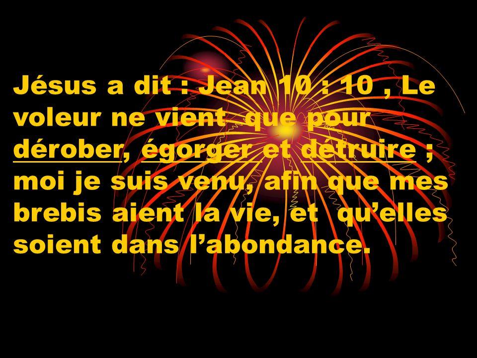 Jésus a dit : Jean 10 : 10, Le voleur ne vient que pour dérober, égorger et détruire ; moi je suis venu, afin que mes brebis aient la vie, et quelles