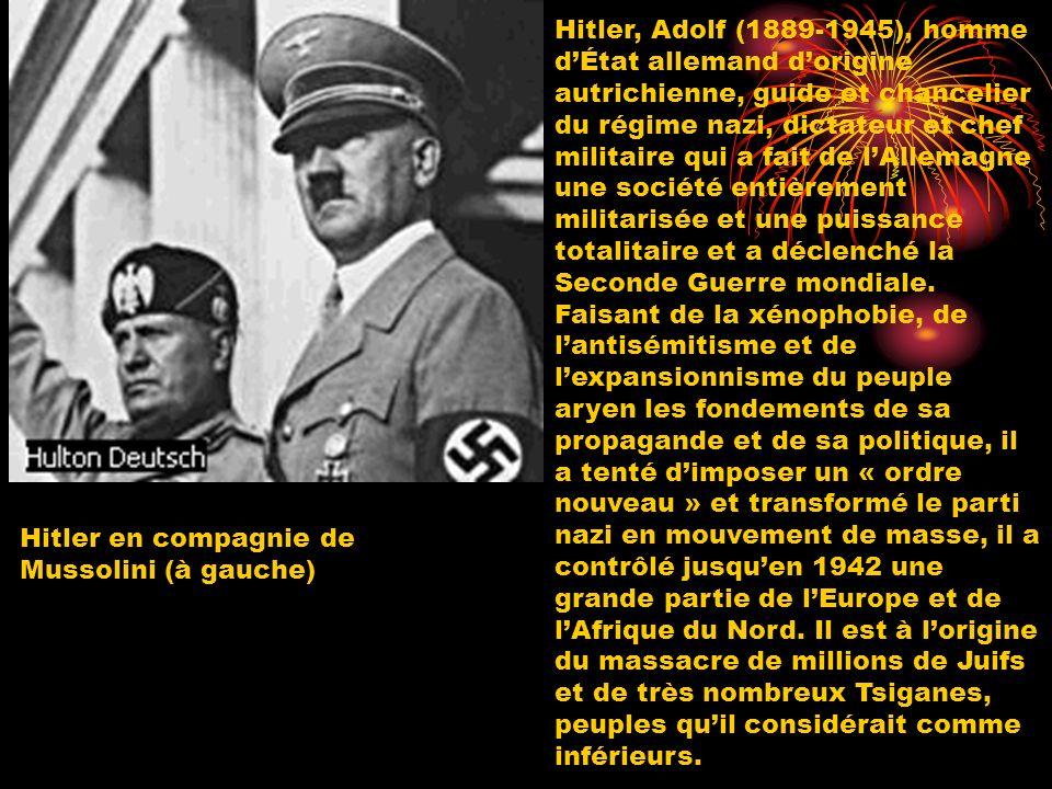 Hitler, Adolf (1889-1945), homme dÉtat allemand dorigine autrichienne, guide et chancelier du régime nazi, dictateur et chef militaire qui a fait de l