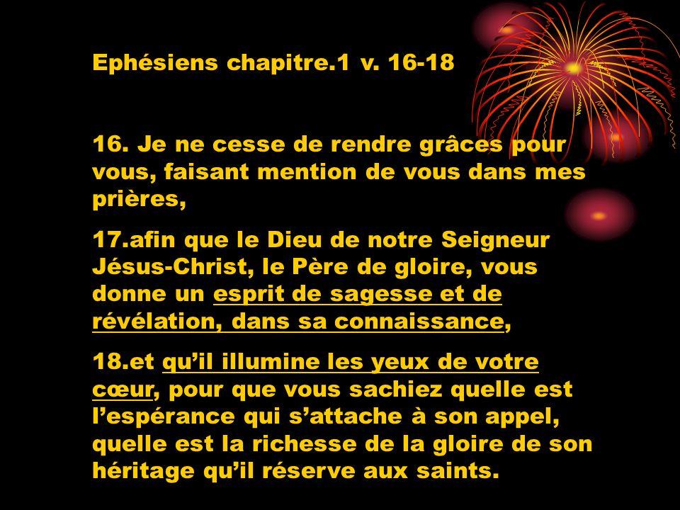 Ephésiens chapitre.1 v. 16-18 16. Je ne cesse de rendre grâces pour vous, faisant mention de vous dans mes prières, 17.afin que le Dieu de notre Seign