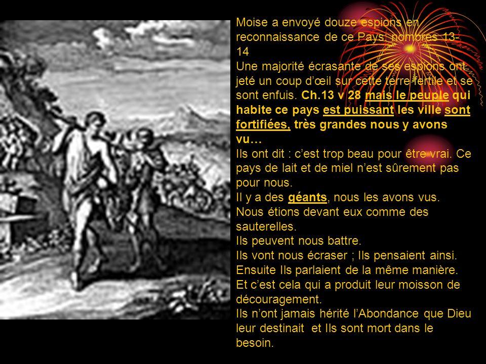 Moise a envoyé douze espions en reconnaissance de ce Pays: nombres 13- 14 Une majorité écrasante de ses espions ont jeté un coup dœil sur cette terre fertile et se sont enfuis.