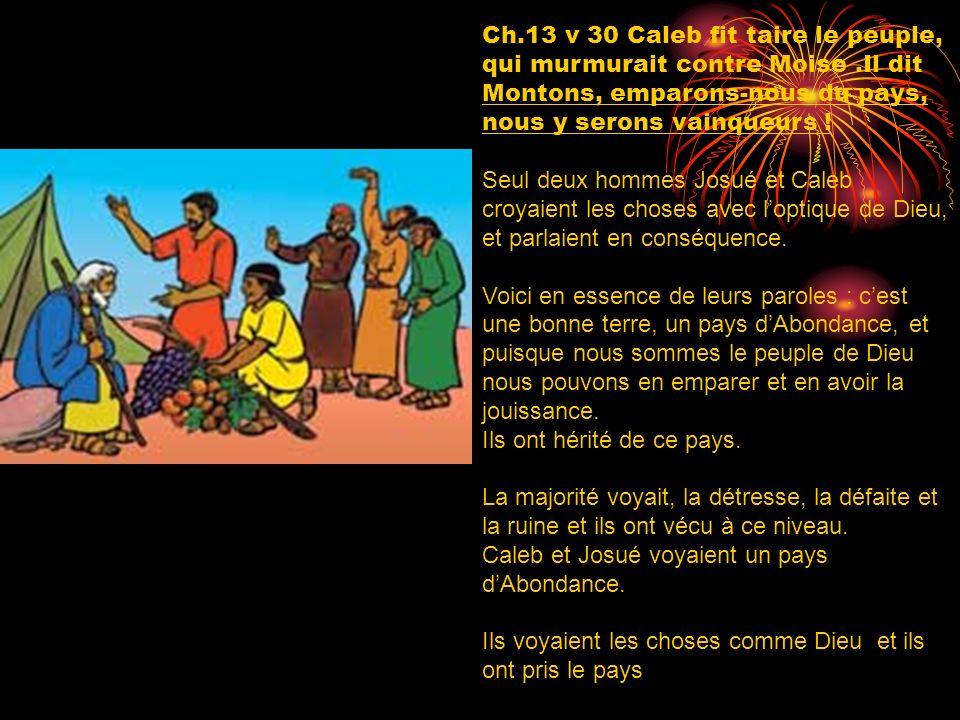 Ch.13 v 30 Caleb fit taire le peuple, qui murmurait contre Moise.Il dit Montons, emparons-nous du pays, nous y serons vainqueurs ! Seul deux hommes Jo
