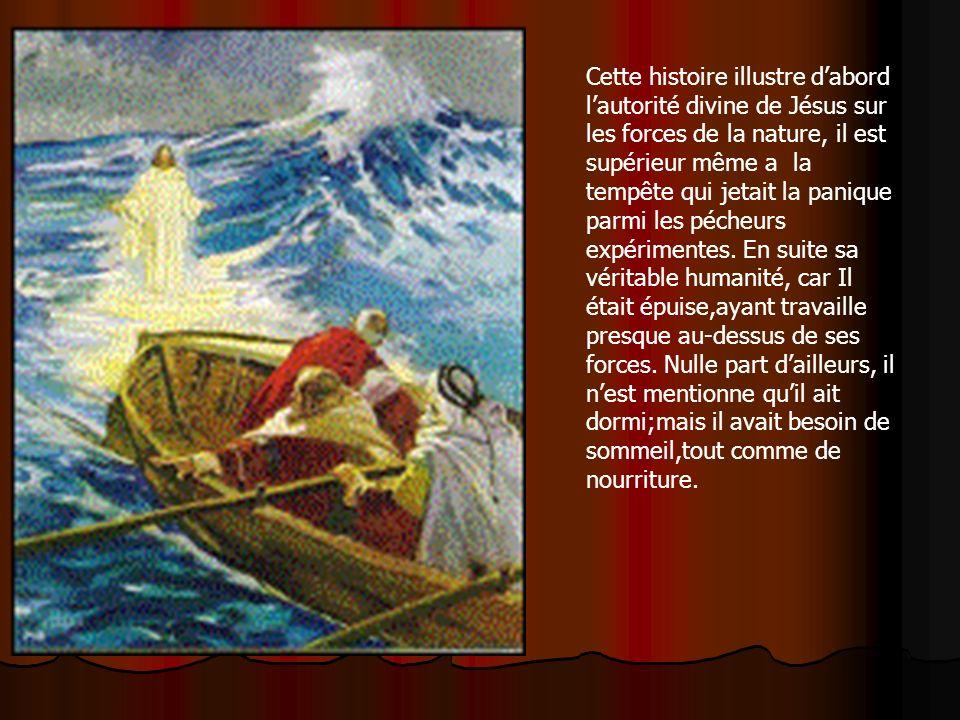 Cette histoire illustre dabord lautorité divine de Jésus sur les forces de la nature, il est supérieur même a la tempête qui jetait la panique parmi l
