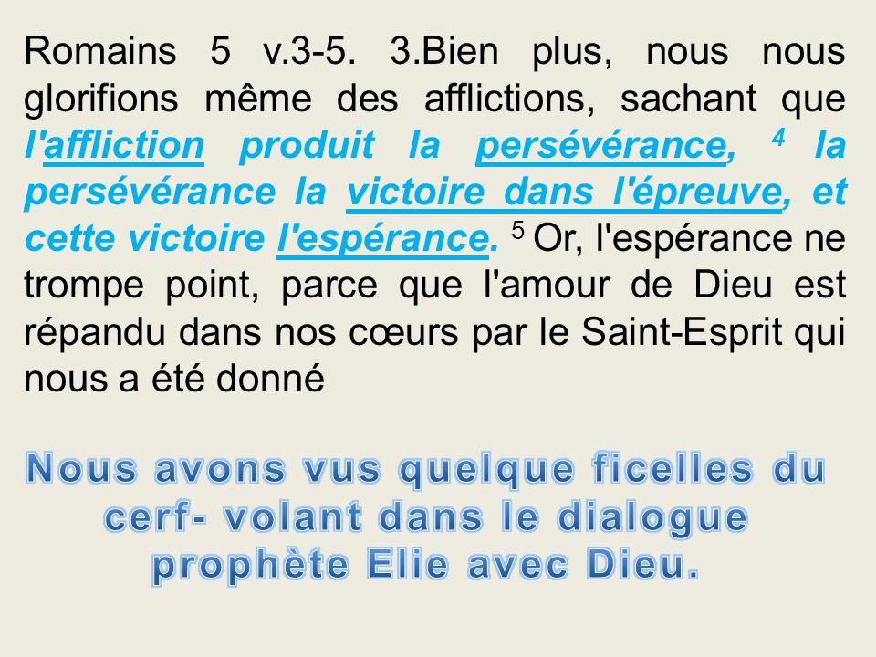 Romains 5 v.3-5. 3.Bien plus, nous nous glorifions même des afflictions, sachant que l'affliction produit la persévérance, 4 la persévérance la victoi