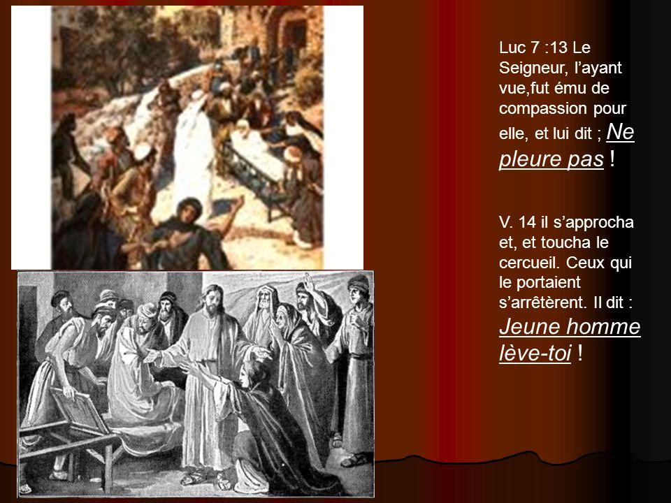 Luc 7 :13 Le Seigneur, layant vue,fut ému de compassion pour elle, et lui dit ; Ne pleure pas ! V. 14 il sapprocha et, et toucha le cercueil. Ceux qui