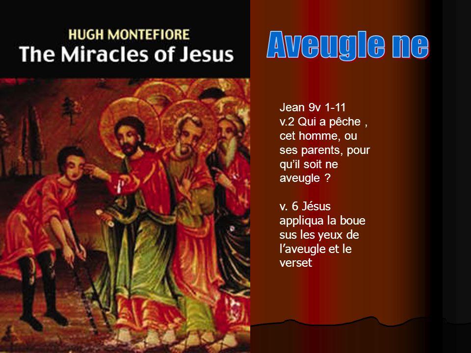 Jean 9v 1-11 v.2 Qui a pêche, cet homme, ou ses parents, pour quil soit ne aveugle ? v. 6 Jésus appliqua la boue sus les yeux de laveugle et le verset
