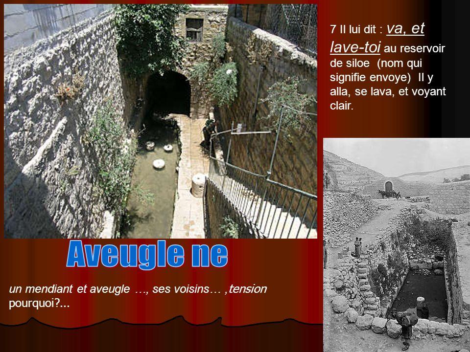 7 Il lui dit : va, et lave-toi au reservoir de siloe (nom qui signifie envoye) Il y alla, se lava, et voyant clair. un mendiant et aveugle …, ses vois