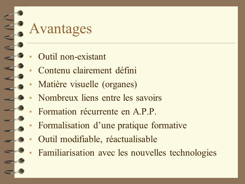 Avantages Outil non-existant Contenu clairement défini Matière visuelle (organes) Nombreux liens entre les savoirs Formation récurrente en A.P.P.