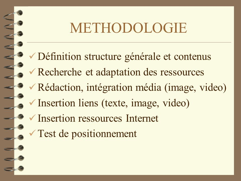 METHODOLOGIE Définition structure générale et contenus Recherche et adaptation des ressources Rédaction, intégration média (image, video) Insertion li