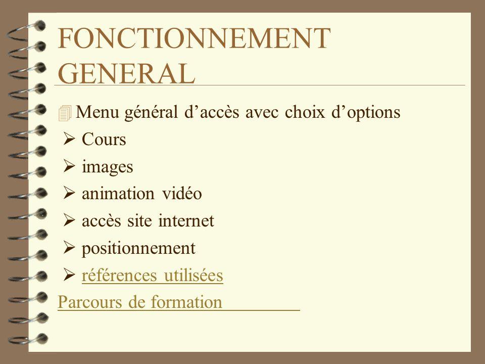 FONCTIONNEMENT GENERAL 4 Menu général daccès avec choix doptions Cours images animation vidéo accès site internet positionnement références utilisées Parcours de formation