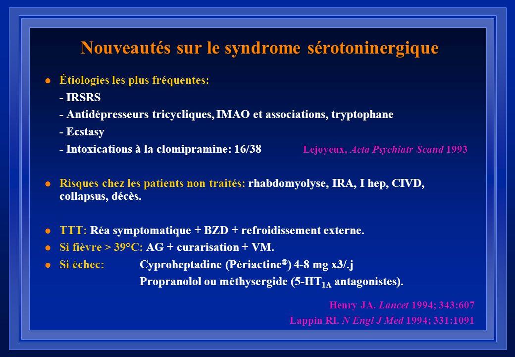 Syndrome sérotoninergique : Notion dingestion dun agent sérotoninergique Présence de 3 ou lus des signes suivants : Confusion, hypomanieFièvre Agitati