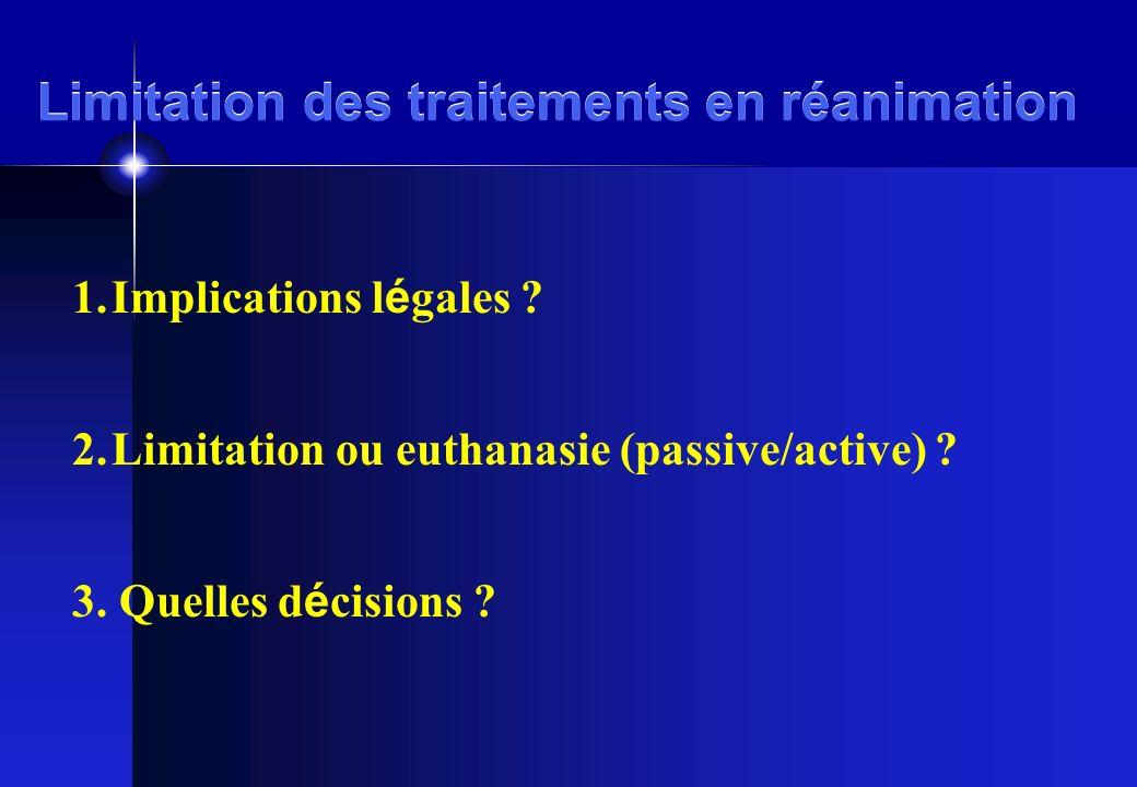 Limitation des traitements en réanimation 1.Implications l é gales ? 2.Limitation ou euthanasie (passive/active) ? 3. Quelles d é cisions ?