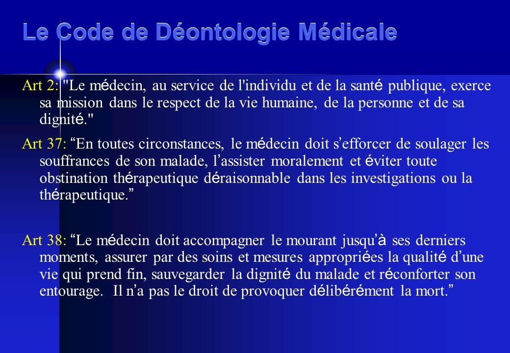 Le Code de Déontologie Médicale Art 2: