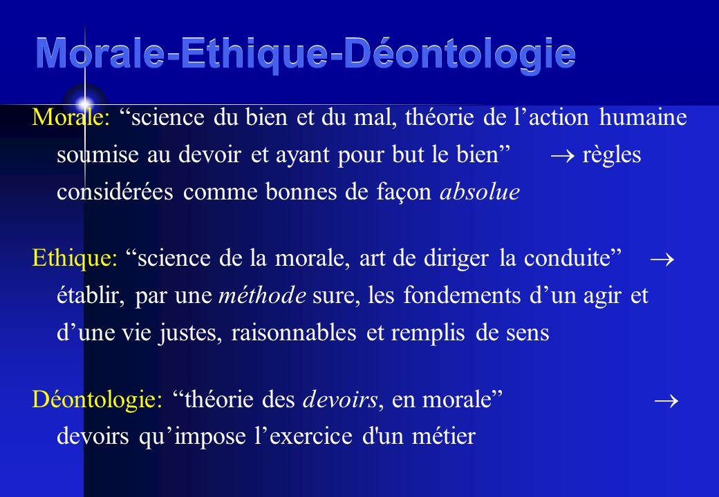 Morale-Ethique-Déontologie Morale: science du bien et du mal, théorie de laction humaine soumise au devoir et ayant pour but le bien règles considérée
