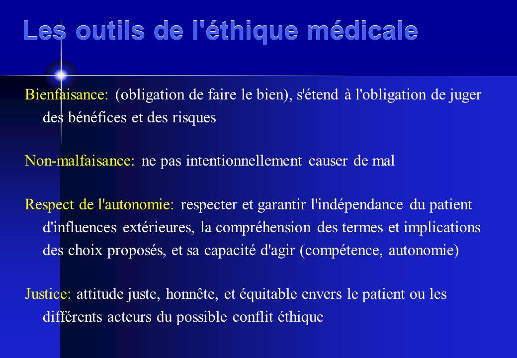 Les outils de l'éthique médicale Bienfaisance: (obligation de faire le bien), s'étend à l'obligation de juger des bénéfices et des risques Non-malfais