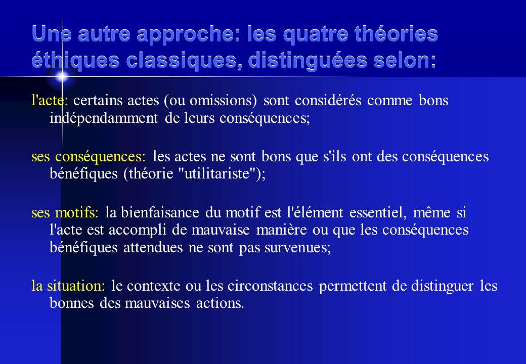 Une autre approche: les quatre théories éthiques classiques, distinguées selon: l acte: certains actes (ou omissions) sont considérés comme bons indépendamment de leurs conséquences; ses conséquences: les actes ne sont bons que s ils ont des conséquences bénéfiques (théorie utilitariste ); ses motifs: la bienfaisance du motif est l élément essentiel, même si l acte est accompli de mauvaise manière ou que les conséquences bénéfiques attendues ne sont pas survenues; la situation: le contexte ou les circonstances permettent de distinguer les bonnes des mauvaises actions.