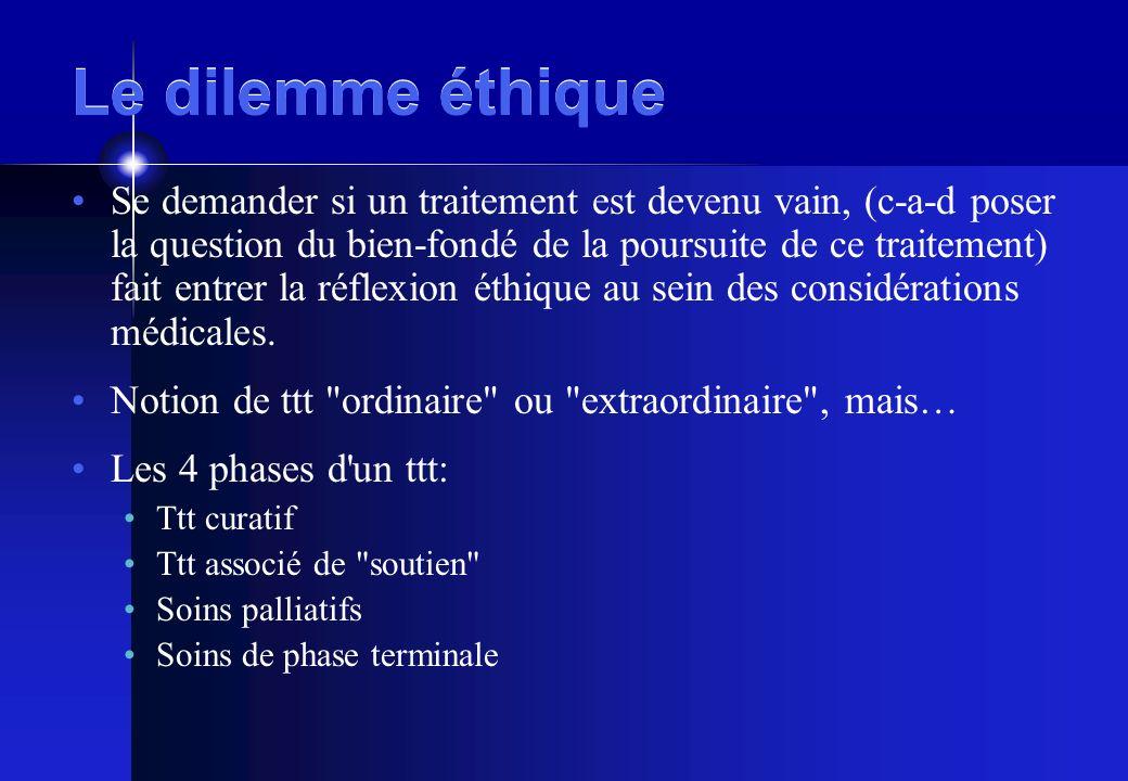 Le dilemme éthique Se demander si un traitement est devenu vain, (c-a-d poser la question du bien-fondé de la poursuite de ce traitement) fait entrer la réflexion éthique au sein des considérations médicales.