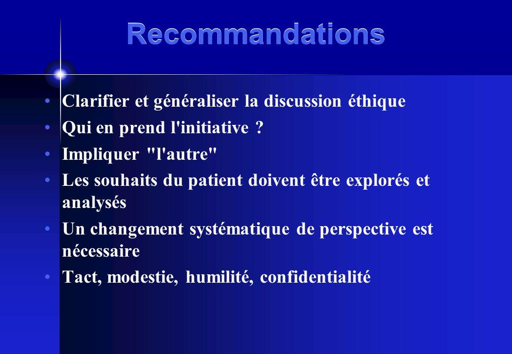 Recommandations Clarifier et généraliser la discussion éthique Qui en prend l'initiative ? Impliquer