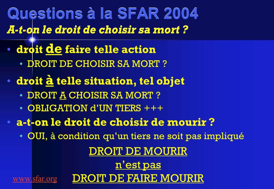 Questions à la SFAR 2004 A-t-on le droit de choisir sa mort ? droit de faire telle action DROIT DE CHOISIR SA MORT ? droit à telle situation, tel obje