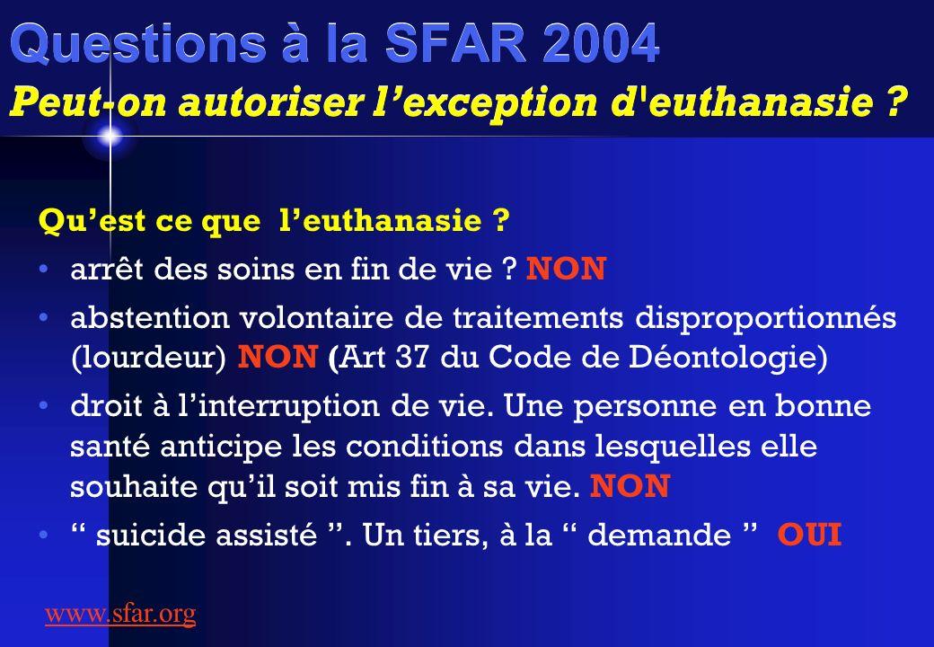 Questions à la SFAR 2004 Peut-on autoriser lexception d'euthanasie ? Quest ce que leuthanasie ? arrêt des soins en fin de vie ? NON abstention volonta