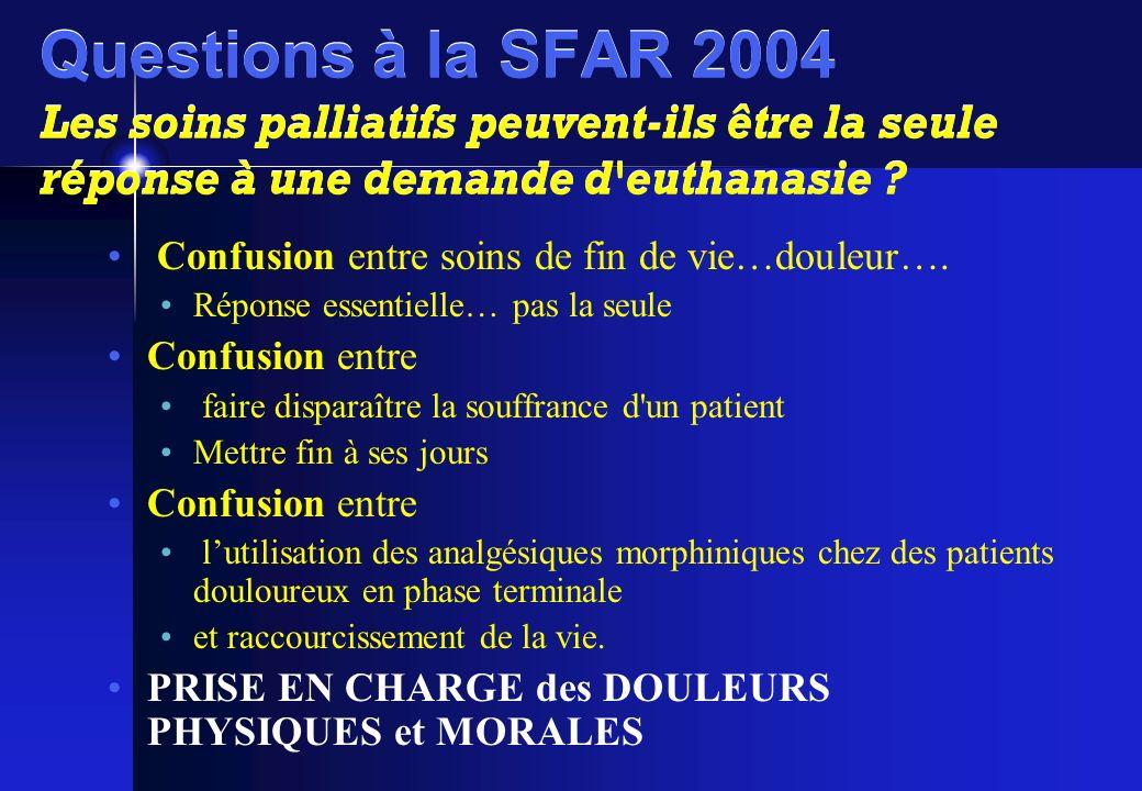 Questions à la SFAR 2004 Les soins palliatifs peuvent-ils être la seule réponse à une demande d'euthanasie ? Confusion entre soins de fin de vie…doule