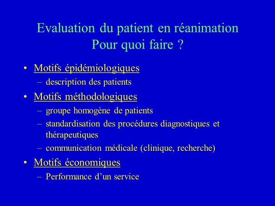 Evaluation du patient en réanimation Pour quoi faire ? Motifs épidémiologiques –description des patients Motifs méthodologiques –groupe homogène de pa
