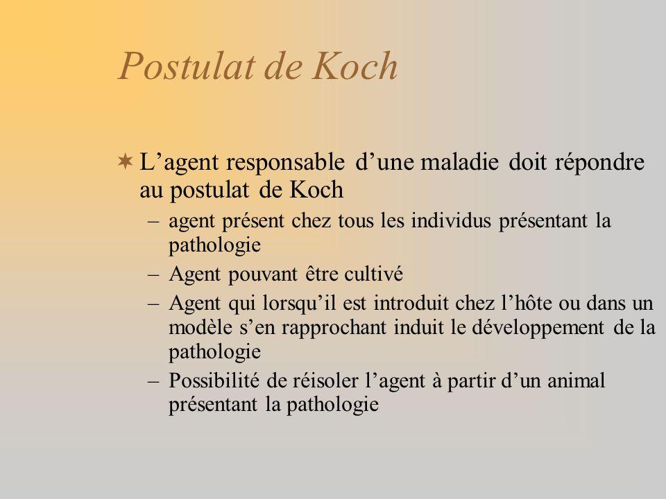 Postulat de Koch Lagent responsable dune maladie doit répondre au postulat de Koch –agent présent chez tous les individus présentant la pathologie –Ag