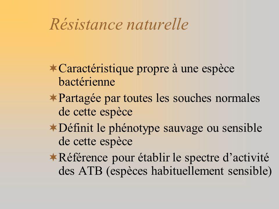 Résistance naturelle Caractéristique propre à une espèce bactérienne Partagée par toutes les souches normales de cette espèce Définit le phénotype sau