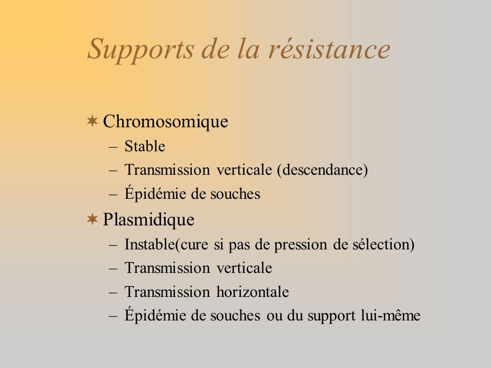 Supports de la résistance Chromosomique –Stable –Transmission verticale (descendance) –Épidémie de souches Plasmidique –Instable(cure si pas de pressi