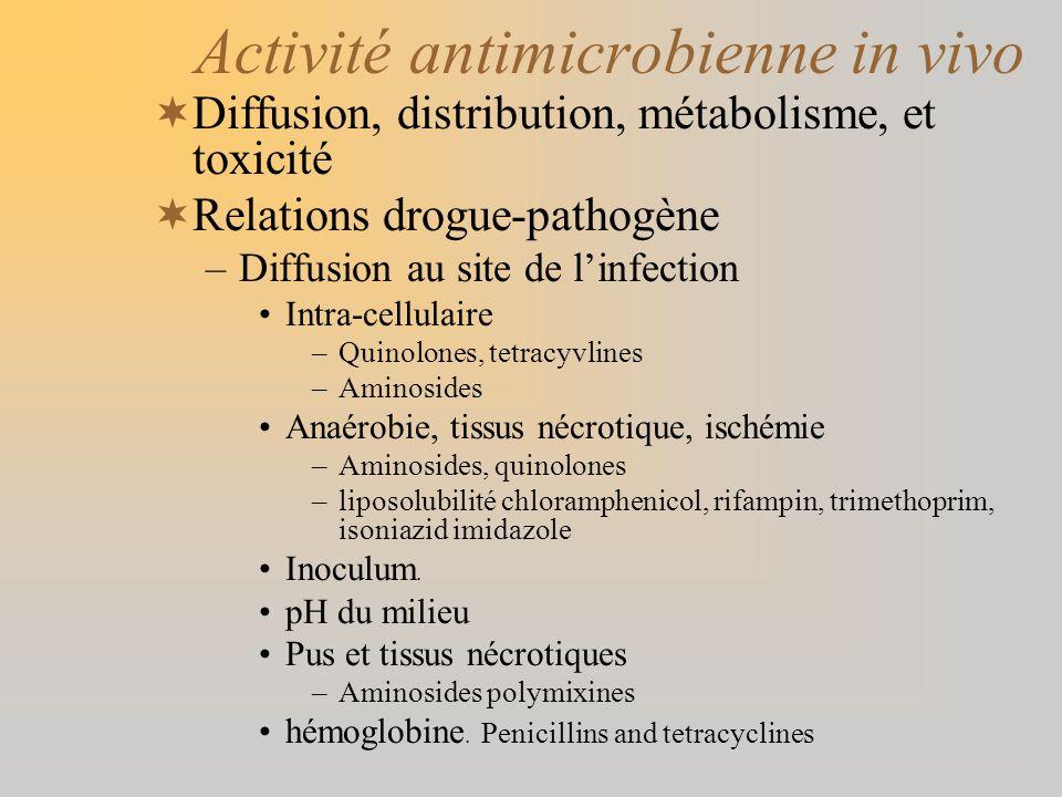 Activité antimicrobienne in vivo Diffusion, distribution, métabolisme, et toxicité Relations drogue-pathogène –Diffusion au site de linfection Intra-c