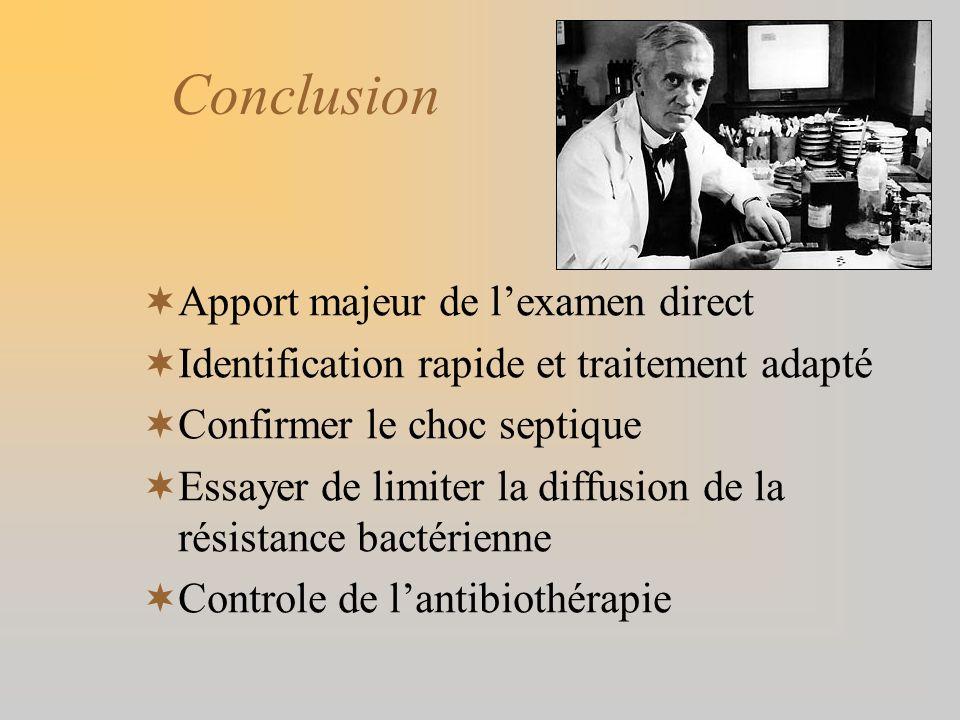 Conclusion Apport majeur de lexamen direct Identification rapide et traitement adapté Confirmer le choc septique Essayer de limiter la diffusion de la