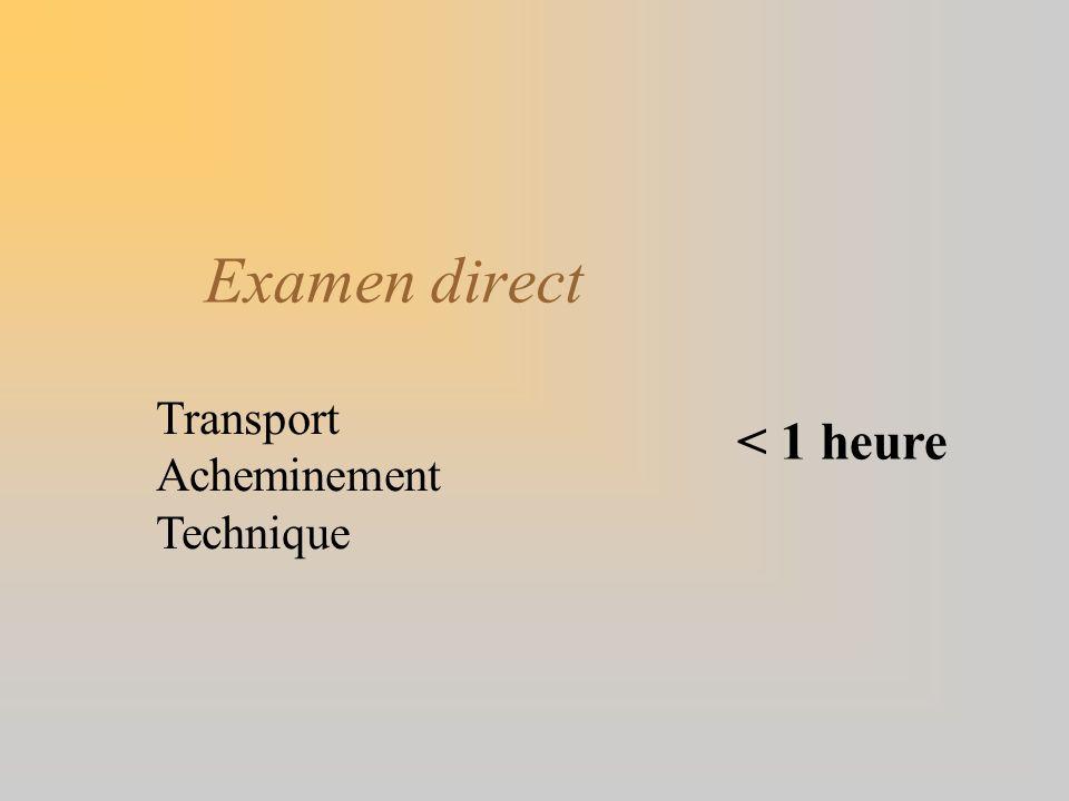 Examen direct Transport Acheminement Technique < 1 heure