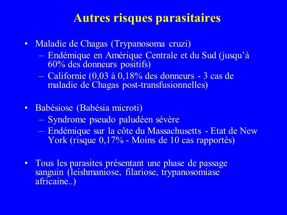 Autres risques parasitaires Maladie de Chagas (Trypanosoma cruzi) –Endémique en Amérique Centrale et du Sud (jusquà 60% des donneurs positifs) –Californie (0,03 à 0,18% des donneurs - 3 cas de maladie de Chagas post-transfusionnelles) Babésiose (Babésia microti) –Syndrome pseudo paludéen sévère –Endémique sur la côte du Massachusetts - Etat de New York (risque 0,17% - Moins de 10 cas rapportés) Tous les parasites présentant une phase de passage sanguin (leishmaniose, filariose, trypanosomiase africaine..)