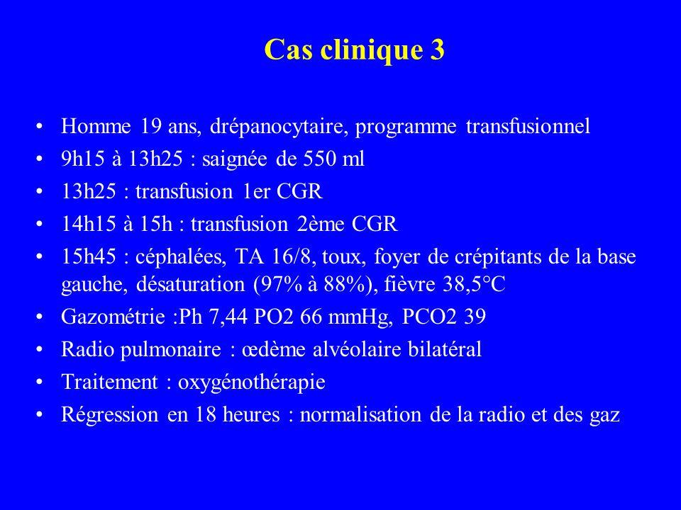 Cas clinique 3 Homme 19 ans, drépanocytaire, programme transfusionnel 9h15 à 13h25 : saignée de 550 ml 13h25 : transfusion 1er CGR 14h15 à 15h : transfusion 2ème CGR 15h45 : céphalées, TA 16/8, toux, foyer de crépitants de la base gauche, désaturation (97% à 88%), fièvre 38,5°C Gazométrie :Ph 7,44 PO2 66 mmHg, PCO2 39 Radio pulmonaire : œdème alvéolaire bilatéral Traitement : oxygénothérapie Régression en 18 heures : normalisation de la radio et des gaz
