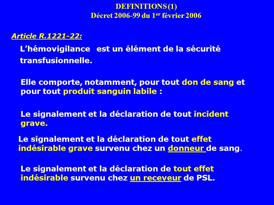 DEFINITIONS (1) Décret 2006-99 du 1 er février 2006 Article R.1221-22: Lhémovigilance est un élément de la sécurité transfusionnelle.