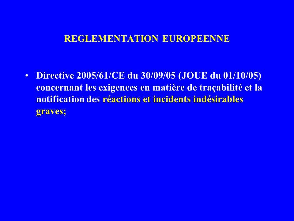 REGLEMENTATION EUROPEENNE sanguins.
