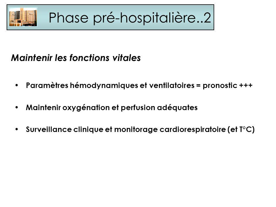 Phase pré-hospitalière..2 Maintenir les fonctions vitales Paramètres hémodynamiques et ventilatoires = pronostic +++ Maintenir oxygénation et perfusio
