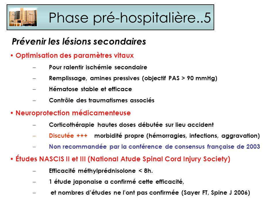 Phase pré-hospitalière..5 Prévenir les lésions secondaires Optimisation des paramètres vitaux – Pour ralentir ischémie secondaire – Remplissage, amine