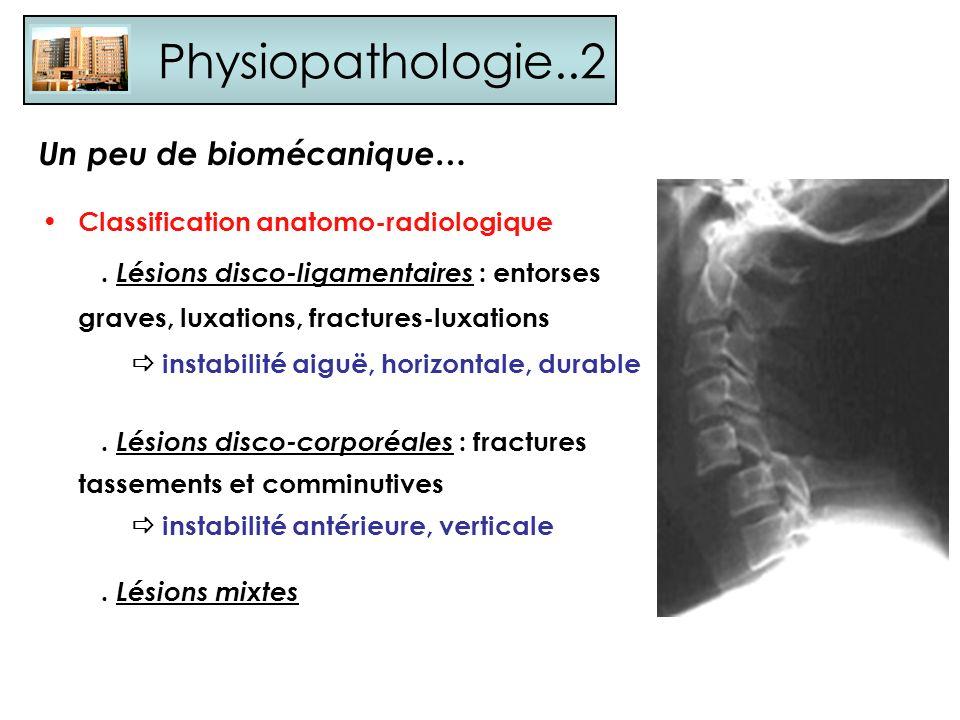 Physiopathologie..2 Classification anatomo-radiologique. Lésions disco-ligamentaires : entorses graves, luxations, fractures-luxations instabilité aig