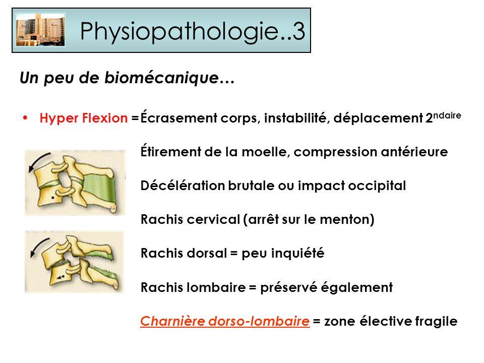 Physiopathologie..3 Hyper Flexion =Écrasement corps, instabilité, déplacement 2 ndaire Étirement de la moelle, compression antérieure Décélération bru