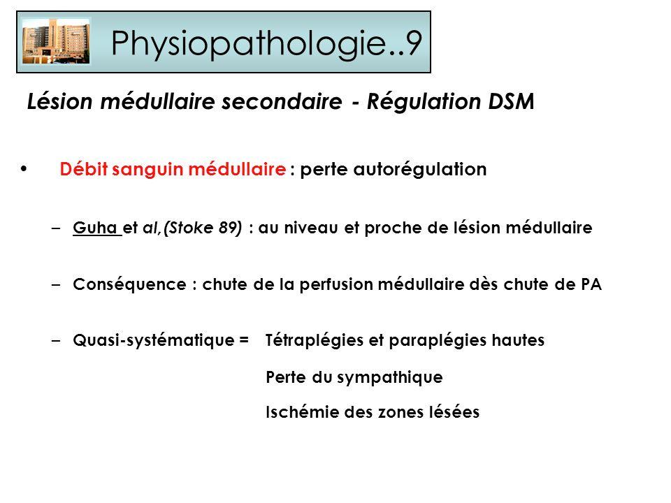 Physiopathologie..9 Lésion médullaire secondaire - Régulation DSM Débit sanguin médullaire : perte autorégulation – Guha et al,(Stoke 89) : au niveau