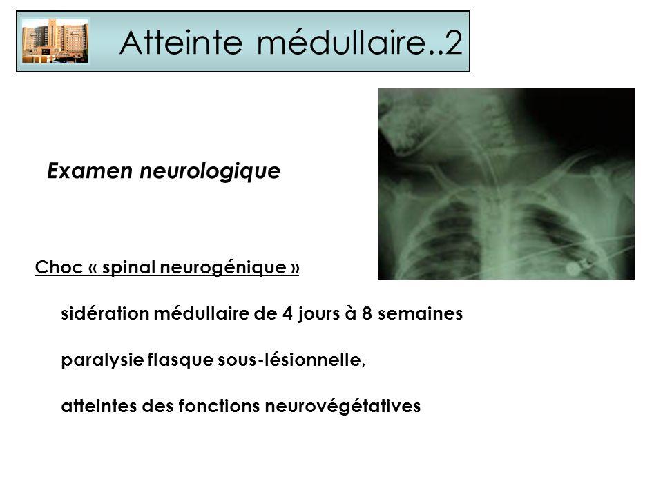 Atteinte médullaire..2 Examen neurologique Choc « spinal neurogénique » sidération médullaire de 4 jours à 8 semaines paralysie flasque sous-lésionnel