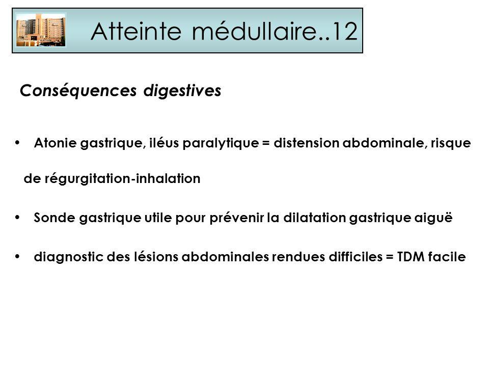 Atteinte médullaire..12 Conséquences digestives Atonie gastrique, iléus paralytique = distension abdominale, risque de régurgitation-inhalation Sonde