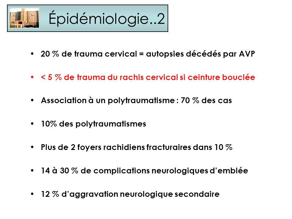 Épidémiologie..2 20 % de trauma cervical = autopsies décédés par AVP < 5 % de trauma du rachis cervical si ceinture bouclée Association à un polytraum