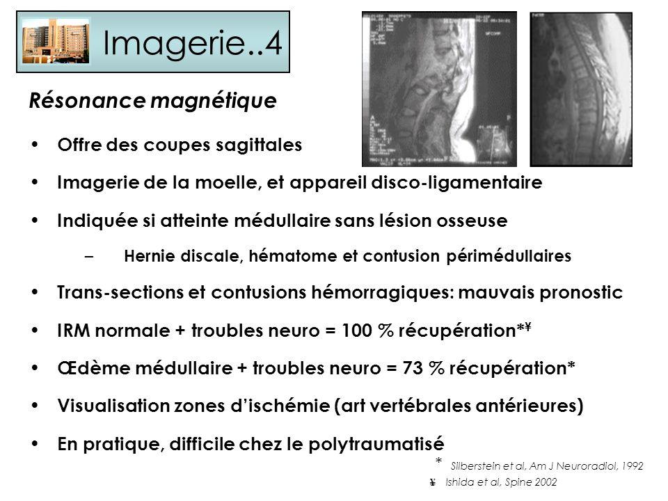 Imagerie..4 Offre des coupes sagittales Imagerie de la moelle, et appareil disco-ligamentaire Indiquée si atteinte médullaire sans lésion osseuse – He