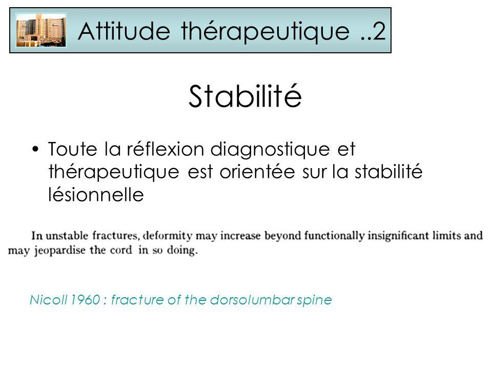 Stabilité Toute la réflexion diagnostique et thérapeutique est orientée sur la stabilité lésionnelle Nicoll 1960 : fracture of the dorsolumbar spine A
