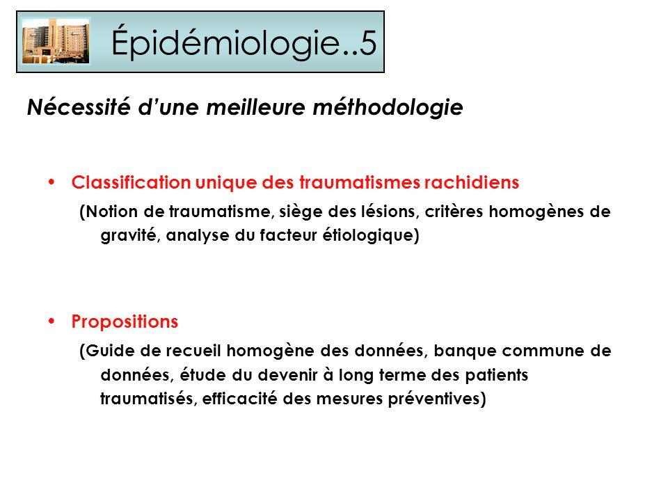 Épidémiologie..5 Classification unique des traumatismes rachidiens (Notion de traumatisme, siège des lésions, critères homogènes de gravité, analyse d